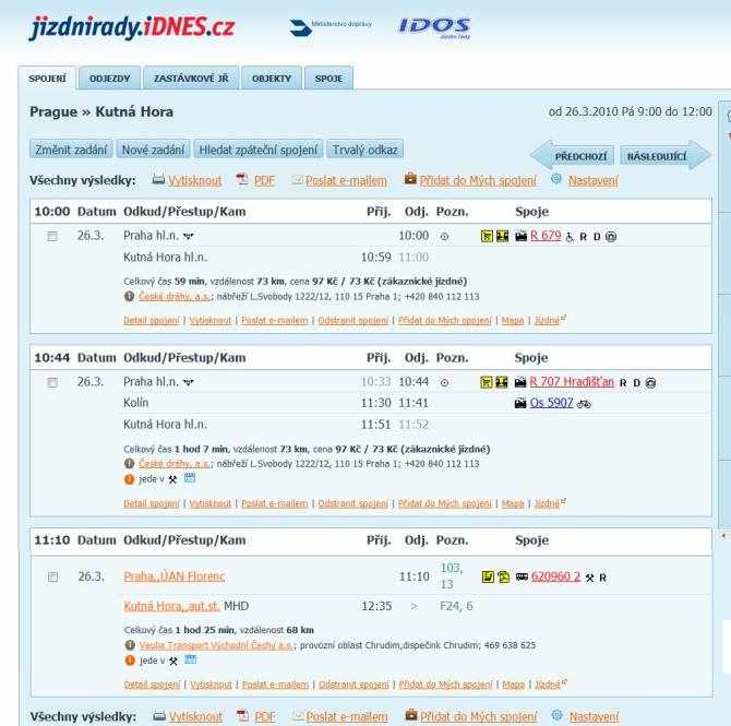 Online timetables showing trains from Prague to Kutna Hora