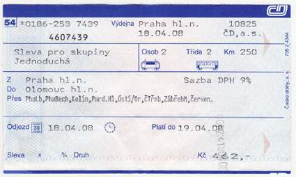 Train ticket from Prague to Olomouc