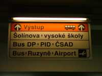 Airport signage at Dejvicka Metro station