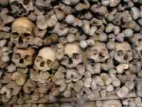Skulls form the crypt beneath the church of Saints peter and paul in melnik