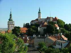 View of Mikulov church and chateau from the goats castle ruins