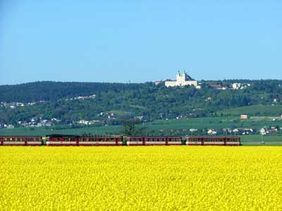 Train cutting through fields outside Olomouc in central Moravia